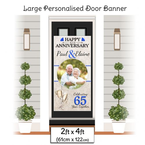 Personalised 65th Blue Anniversary Door PHOTO Banner Poster ~ N27